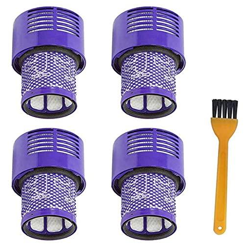 SDFIOSDOI Piezas de aspiradora 4 Paquete de la Unidad de Filtro Lavable Ajuste para Dyson V10 SV12 Cyclone Animal Absoluto Total Limpio aspiradora (Color : Purple Yellow)