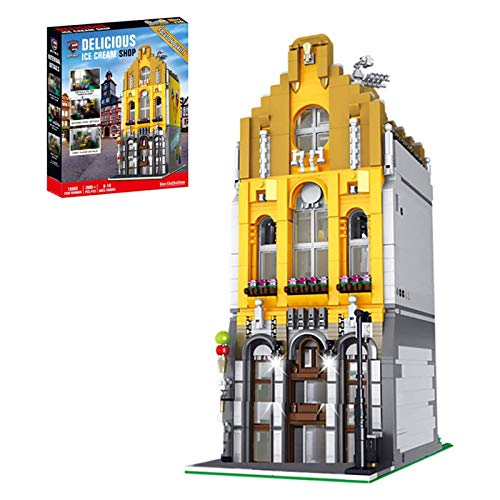 Nlne Architecture 3D Street View Ice Cream Shop Building Set, DIY Construction Model with Light, Building Blocks Compatible with Lego (2605 Pieces)