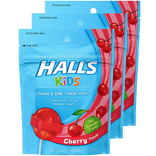 Halls Kids Cough & Sore Throat Cherry Pops,10 Pops Each (Pack of 2)