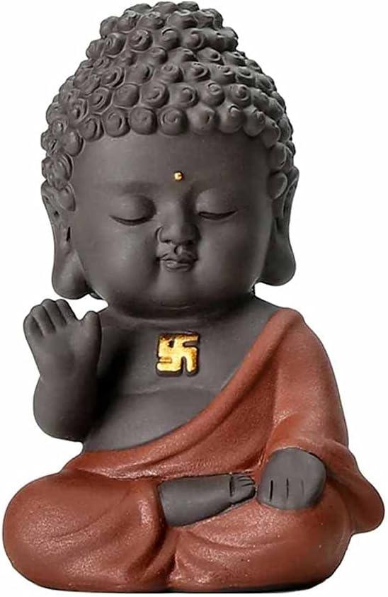 JJSPP Small Buddha Statue Monk Figurine India Yoga Mandala Tea P