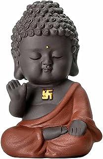 ZLBYB Small Buddha Statue Monk Figurine India Yoga Mandala Tea Pet Purple Ceramic Crafts Decorative Ceramic Ornaments (Col...