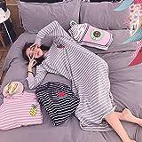 stjdm camicia da notte,camicie da notte donna autunno manica lunga 4xl camicie da notte ricamo a righe stile coreano kawaii elegante trendy oversize chic 4xl grigio