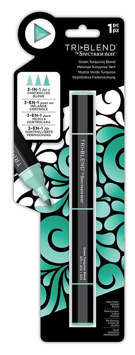Spectrum Noir SN-TBLE-GTBL Blend Triblend Blendable Alcohol Marker 3 Colours in 1 Pen-Green Turquoise