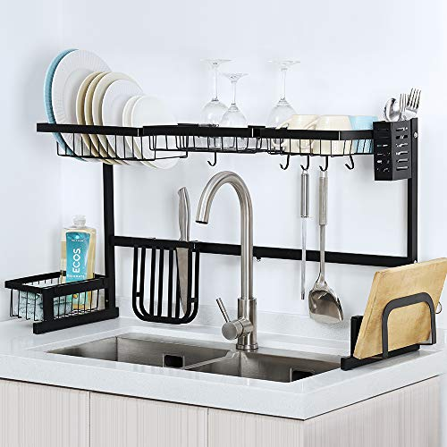 Dish Drainer,Adjustable Length Over The Sink Dish Drying Rack,Nonslip and Polishing Finished,Multipurpose in Kitchen Supplies Storage,Black