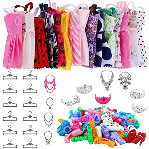 Doll Clothes Set, 46 Pieces Doll Clothes, Shoes Jewelry Fun Safety Accessories for Girls Fashion Dolls Doll Clothes Accessories Include Rompers