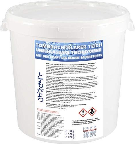 Tomodachi Aktivsauerstoff Koiteich – Teichhygiene und Algenbekämpfung mit reinem Sauerstoff, beseitigt Nitrit, befördert Laub und Algen an die Oberfläche, bringt Sauerstoff in den Teich, 5kg Eimer