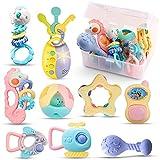 Sonajero con sonajero para bebés a partir de 6 meses. Llaves de juguete, juguetes con luz, 9 piezas, juguete para bebé, sin BPA, juguete de aprendizaje temprano para niños de 0,3, 6, 9 y 12 meses