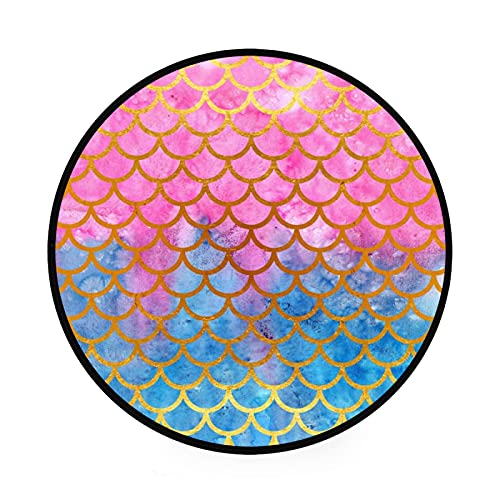 Esterilla redonda antideslizante para gimnasio, escamas de peces de sirena, escamas de peces azul, rosa, gran diámetro, plegable, suave y lavable, organizador de almacenamiento de juguetes
