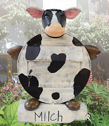"""Deko-Briefkasten \""""ERNA\"""", Motiv: Kuh mit Zeitungsrolle in Form einer Milchkanne 2169"""