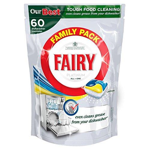 Fairy Platinum Dishwasher Tablets Lemon 60 per pack by Platinum Fairy
