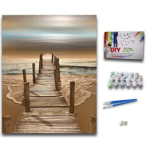 ZUOQUAN DIY Vorgedruckt Leinwand-Ölgemälde Geschenk Für Erwachsene Kinder Malen Nach Zahlen Kits Home Haus Dekor - Brücke Am Meer 40 * 50 cm