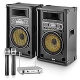 Yellow Star 12 Set equipo karaoke para eventos Pareja de altavoces activos Micrófonos...