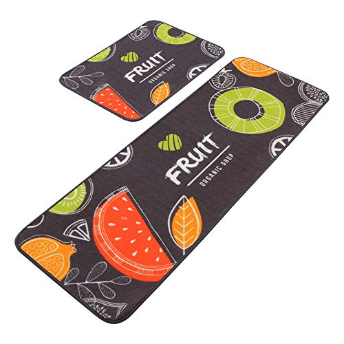LY4U 2 Pieces Non-slip Kitchen Floor Mat Standing Mat Area Rugs Set for Kitchen Living Room(40 * 60cm+40 * 120cm)