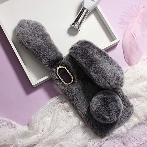 Omio for iPhone XS Max Rabbit Fur Case Soft Handmade Fluffy Furry Bunny Plush Rabbit Cute Cover for iPhone XS Max Case Warm Big Ear Bling Crystal Rhinestone Bowknot Ultra Light Shell for iPhone XS Max