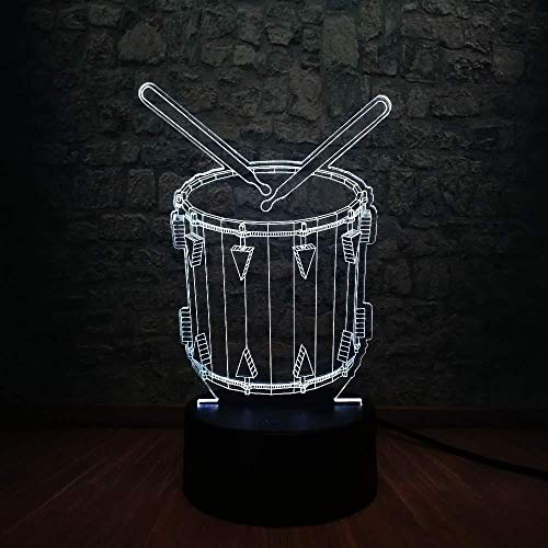 3D kerstcadeau Night Light Creative Musical 3D LED Drum Visual 7 kleuren dimmer Grade bedlampje Decor Baby Sleep Night Light Holiday Kerstgeschenk met afstandsbediening