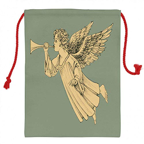 Christmas Sack 11.4' x 15.1', Flying Christmas Angel with Wings Playing Trumpet Mythological Artwork, Santa Sack Bag Canvas Fabric for Gifts And Storage, Christmas Bag, Yellow Mint