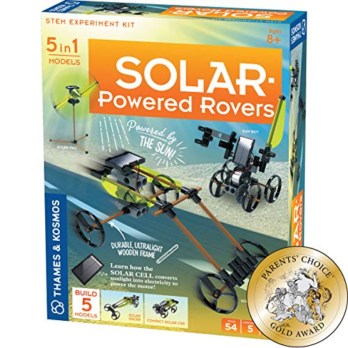 Thames and Kosmos 550030| Solar-Powered Rovers| Stem Experiment Kit| 5 in 1 Models| Durable Ultralight Wooden Frame| Ages 8+