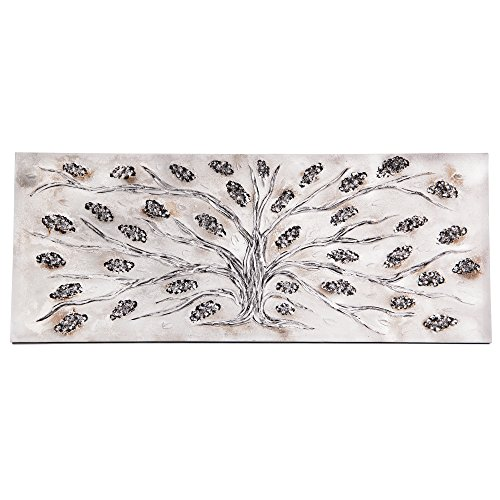 Lohoart L-1234 - Cuadro Artesanal en Lienzo Pintado a Mano, decoración hogar Cuadro Pared, Color Blanco y Plata, Medidas: 150 X 60 cm