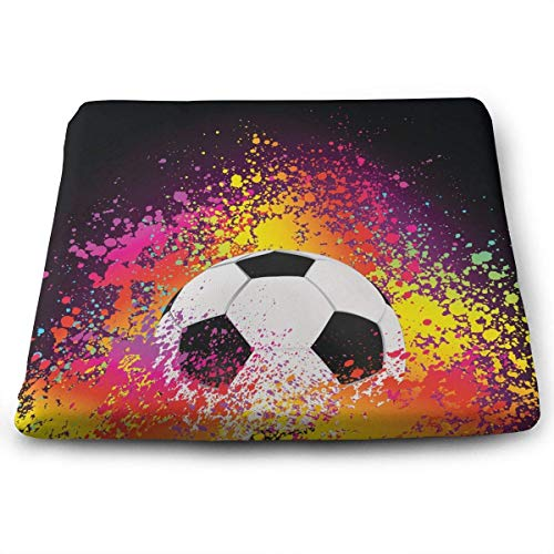 ADGoods Quadratisches Sitzkissen Soccer Football Memory Foam Seat Cushion Square Chair Cushion Pad Fits Wheelchair for Office,Home,Car,Kitchen