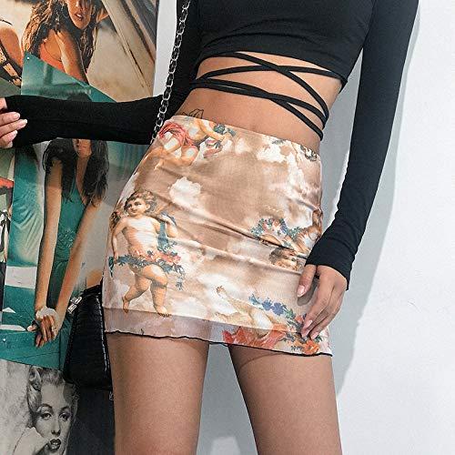 CIDCIJN Damen Bleistift Minirock,Mode Engel Mini Braunen Rock Frauen Streetwear, Sommer Sexy Stretch Hohe Taille Wickeln Bleistift Röcke, L