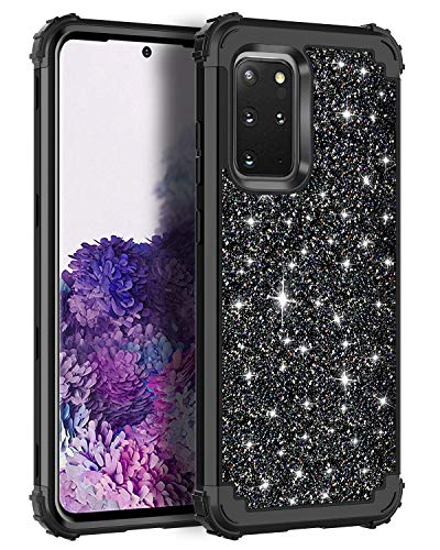Casetego Compatible Galaxy S20 Plus Case,Floral Three Layer Heavy Duty Hybrid Sturdy Armor Shockproof Full Body Protective Cover Case for Samsung Galaxy S20 Plus 6.7 inch,Shiny Black