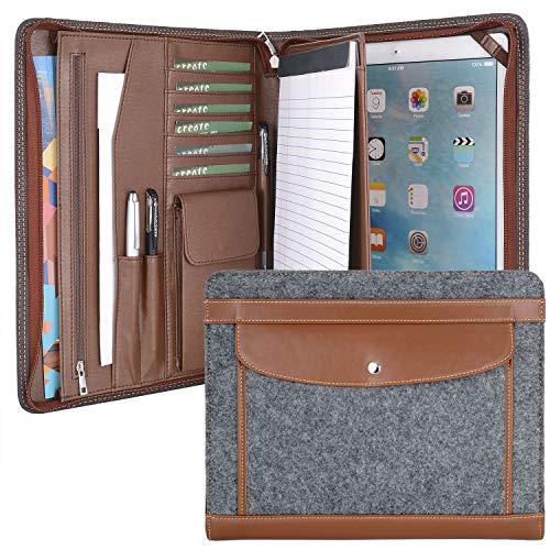 Wool Felt Organizer Portfolio Case for 12.9 inch iPad Pro, A4 Notepad,Brown