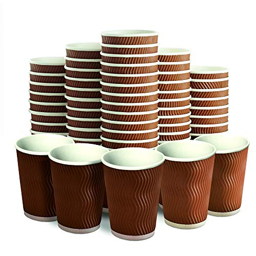 Insulated Disposable Coffee Cups 12 oz, 100 Packs - Paper Cups for Hot Beverage Drinks To Go Tea Coffee Home Office Car Coffee Shop Party (Brown)