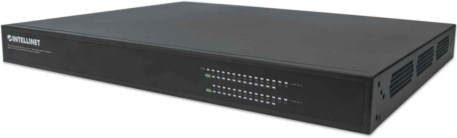 Intellinet 24-Port Gigabit Ethernet PoE+ Layer2+ Web-Managed AV Switch with Rear-Panel PoE/PoE+ Ports and Two Gigabit-Speed SFP Ports & Two SFP/RJ45 Combo Ports, 425 W Power Budget, 56 Gbps Switching
