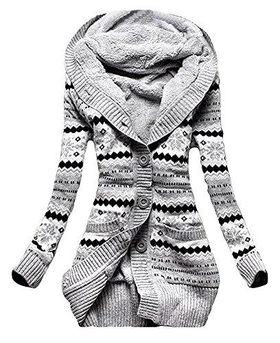 Minetom Damen Vlies Gestrickt Taste Pullover Oberbekleidung Mit Kapuze Strickjacken Kapuzenpullover Strickwaren Mäntel Grau DE 38