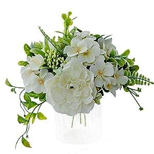 Silk Flower Arrangements KIRIFLY Artificial Flowers,Fake Peony Camellia Silk Hydrangea Plastic Bouquet Decor Realistic Flower Arrangements Wedding Decoration Table Centerpieces 3 Packs (White)
