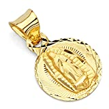 GoldenMine Fine Jewelry Collection 14K Yellow Gold Dia-Cut Mary Guadalupe Stamp Pendant
