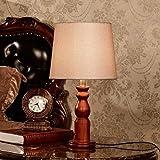 QIURUIXIANG-Lámpara de mesa, Mesita de noche Lámparas, de noche Mesa de luz, en la alcoba Iluminación, Madera Base exquisita moderna lámpara de escritorio de luz nocturna con la tela de la cortina for