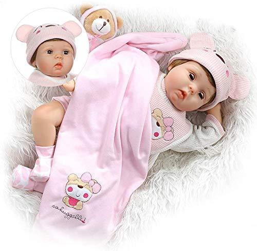 ZXYMUU Reborn Babypuppen des Kindes, 55 cm Auge Von Realistic Puppe Baby-Blinzeln Süßes Kleines Mädchen, Realistisch Silikon-Weich An Hand Fertig