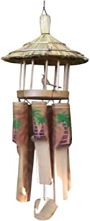 Rockin Gear Wind Chime Bamboo Hand Carved Bird House Noisemaker Tiki Hut Bar Decor Beautiful Soothing Noise - Exotic Ornament Arts Collection