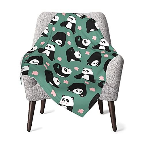 Cute Panda Yoga and Pink Flowers. Baby Blanket Boys Soft Baby Blanket Fleece Baby Girl For Nursery Stroller Crib Receiving Blanket