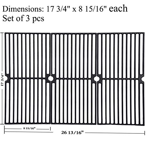 """GasSaf Grill Grates Replacement for Brinkmann 810-2410-S,810-2511-F,810-9415-W,810-7490-F, Charmglow 810-8410-F, Browning, Grillada & Others, Set of 3 Cast Iron Cooking Grate(17 3/4"""" x 8 15/16"""" each)"""