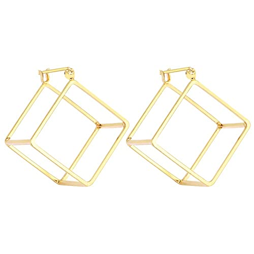 11937b717 Rugewelry Geometric 3D Cube Square Triangle Earrings 18k Gold Plated Stud  Earrings For Women,Girls