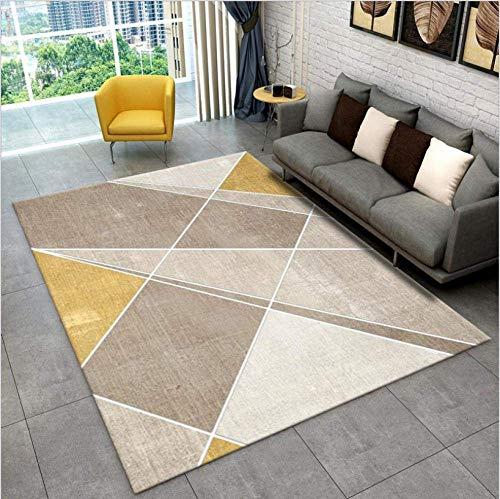showyow Alfombras antideslizantes grandes y modernas lavables para dormitorio, sala de estar, color amarillo, beige, líneas geométricas blancas, 100 x 160 cm