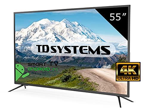 Televisor Led 55 Pulgadas Ultra HD 4K Smart, TD Systems K55DLM8US. Resolución 3840 x 2160, 3X HDMI, VGA, USB, Smart TV.