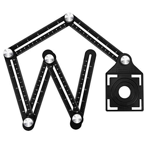マルチアングルルーラー 自由定規 六角 測定ツール 折り畳み 折尺 測定定規 アルミ合金製 多目的な コンパクト DIYツール テンプレートツール