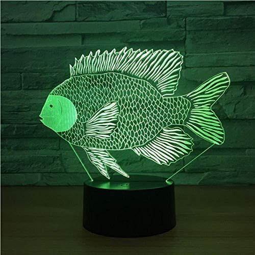 3D Baby Schlafzimmer Schlaflampe 3D Illusionslampe 7 Farben Ändern Afrikanischer Lachs Tilapia Dace Fisch 3D LED Lampe USB Charge Touch Button Tischlampen Erstaunliche Dekoration Kinder Geschenke