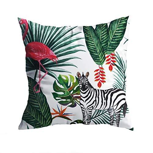 2er Set Bunter Outdoor Kissen-Bezug wasserdicht 40x40 cm - dekorative Design-Outdoor-Kissenhülle (Tropische Pflanzen - Zebra)