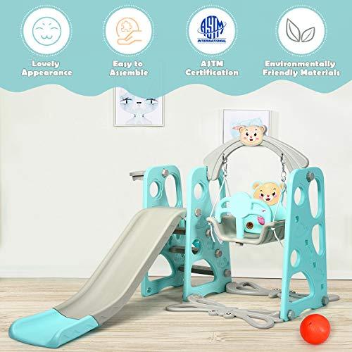 DREAMADE 3 in 1 Kinder Spielplatz, Kinderschaukel & Kinderrutsche Set mit Basketballkorb, Spielturm mit Rutsche und Schaukel für Indoor und Outdoor, Für Kinder 1 bis 5 Jahren (Grün) - 6
