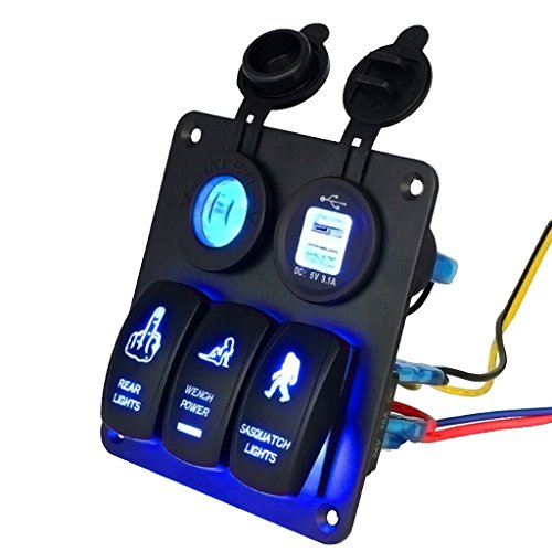 #N/a Fácil Instale La Prenda Impermeable Del Disyuntor Del Panel Del Interruptor de Eje de Balancín Del Coche de La Seguridad 3Gang