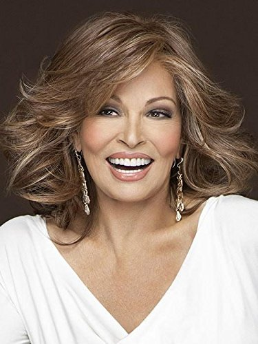 """Goddess Shoulder Length Wig Color RL6/8 DARK CHOCOLATE - Raquel Welch Wigs 9"""" Long Wavy Women's Lace Front Heat Friendly Monofilament Top"""
