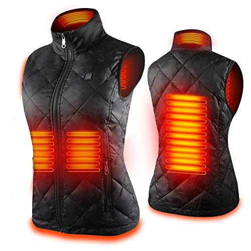 Women's Heated Vest with 3 Heating Levels, 4 Heating Zones,Neck Heating Jacket Washable (Batteries...