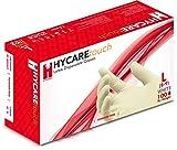 Hycare Guantes Desechables sin Polvo de Látex, Talla L (Paquete de 100)