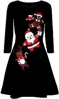 Women Christmas Printed Casual Dress Long Sleeve Evening Prom Costume Swing Dresses