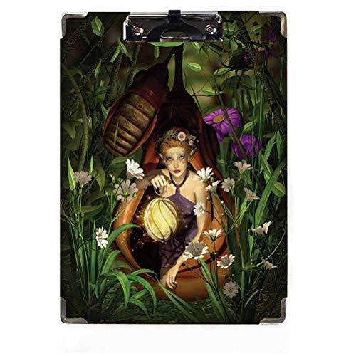Princesa Decor - Portapapeles de perfil bajo, diseño de elfo con linterna...