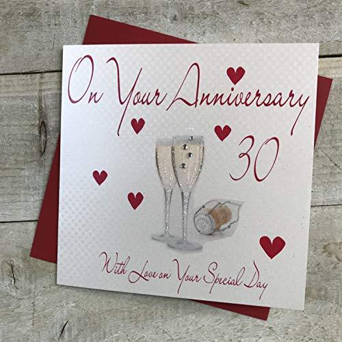 Wit katoenen kaarten WB 159-76,20 cm rode champagneglazen, op je Anniversary